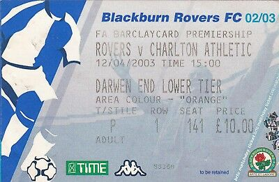 Ticket - Blackburn Rovers v Charlton Athletic 12.04.03