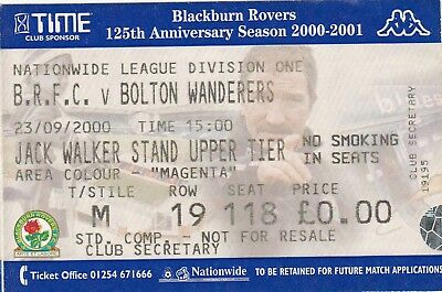 Ticket - Blackburn Rovers v Bolton Wanderers 23.09.00