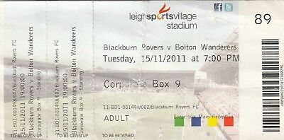Ticket - Blackburn Rovers Reserves v Bolton Wanderers Reserves 15.11.11