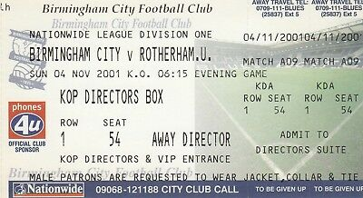 Ticket - Birmingham City v Rotherham United 04.11.01
