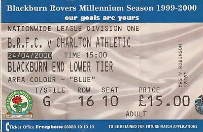 Ticket - Blackburn Rovers v Charlton Athletic 24.04.00
