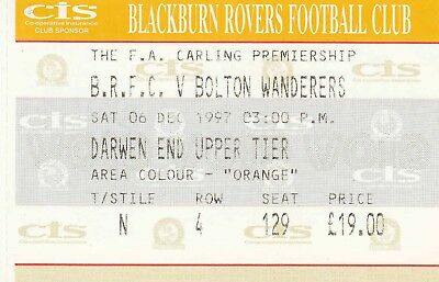 Ticket - Blackburn Rovers v Bolton Wanderers 06.12.97