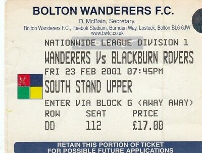 Ticket - Bolton Wanderers v Blackburn Rovers 23.02.01