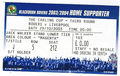 Ticket - Blackburn Rovers v Liverpool 29.10.03 League Cup