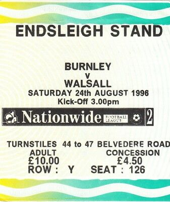 Ticket - Burnley v Walsall 24.08.96