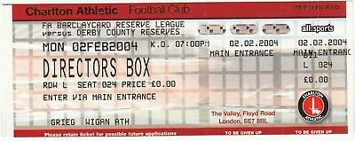 Ticket - Charlton Athletic Reserves v Derby County Reserves 02.02.04