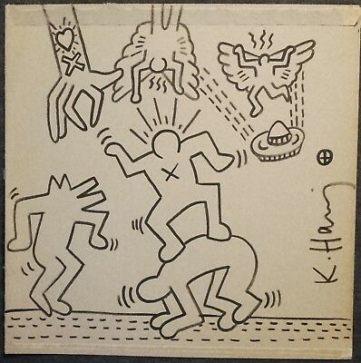 keith Haring sketch signed draw