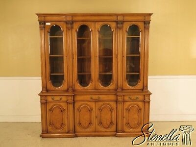 42977E: KARGES French Louis XVI Walnut 4 Door Breakfront Bookcase