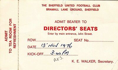 Ticket - Sheffield United Reserves v Sheffield Wednesday Reserves 13.11.76