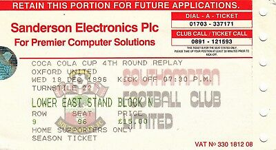 Ticket - Southampton v Oxford United 18.12.96 League Cup