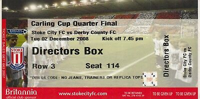 Ticket - Stoke City v Derby County 02.12.08 League Cup