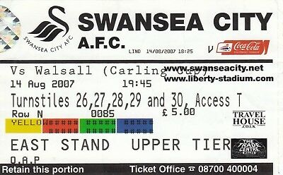 Ticket - Swansea City v Walsall 14.08.07 League Cup