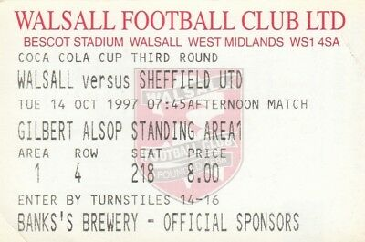 Ticket - Walsall v Sheffield United 14.10.97 League Cup