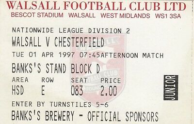 Ticket - Walsall v Chesterfield 01.04.97