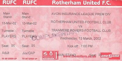 Ticket - Rotherham United Reserves v Tranmere Rovers Reserves 13.03.02