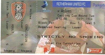 Ticket - Rotherham United v Wolverhampton Wanderers 26.08.2008 League Cup