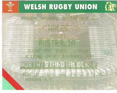 Ticket - Wales v Australia Rugby Union 01.12.1996