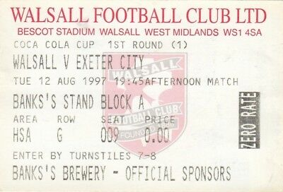 Ticket - Walsall v Exeter City 12.08.97 League Cup