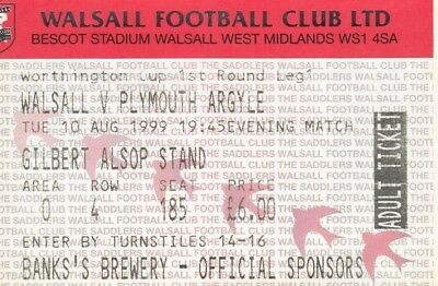 Ticket - Walsall v Plymouth Argyle 10.08.99 League Cup