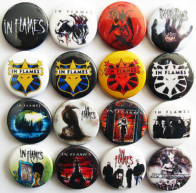 IN FLAMES Button Badges Pins Melodic Death Metal Set Whoracle Colony Lot of 16