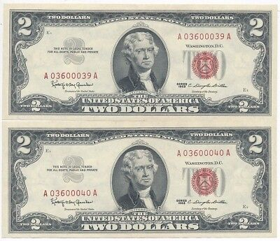 1963 $2 United States Notes-Consecutive Serial #s-Crisp Uncirculated! Free Ship!