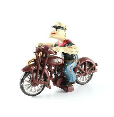 Vintage Hubley Cast Iron Popeye Riding Cool Motorcycle Toy