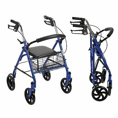 Blue Heavy Duty Rollator Walker with Wheels 300 lbs Cap Basket Adult Padded Seat
