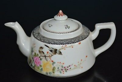Exquisite Chinese Famille Rose Porcelain Teapot Marked Zhang Shibao B2345