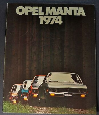 1974 Opel Manta Brochure Luxus Rallye Sport Wagon Excellent Original 74
