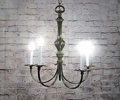 Antique Vintage Chandelier Brass Mid Century Simple Elegant