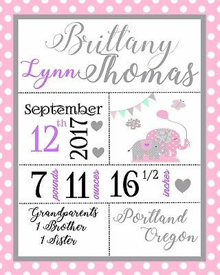 Custom Personalized Cardstock Baby Girl Announcement Pink with Elephant
