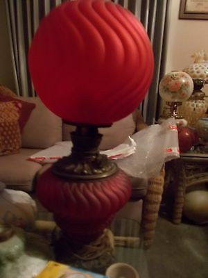 Extremly RareRed Swirl Gone with the Wind/GWTW/ PARLOR/ Banquet Lamp(electrified