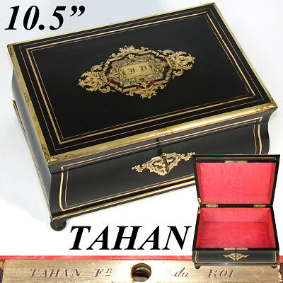 """Antique French TAHAN Marked 10.5"""" Jewelry Box, Casket, Serpentine, Boulle Inlay"""