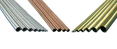 K&S Metals Tubes Aluminium Brass Copper Round Square Rectangle Various Diameters