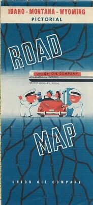1948 UNION 76 TRITON OIL Road Map MONTANA IDAHO WYOMING Yellowstone Glacier
