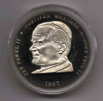 Pope John Paul II Silver Proof Coin to commemorate 1987 visit. 1 OZ .999 Fine