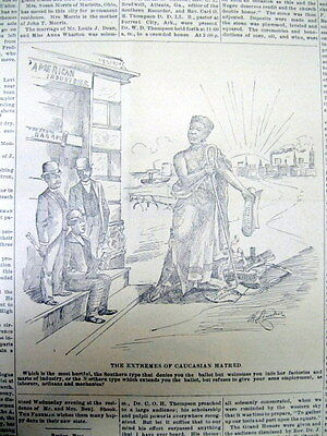 <1891 AFRICAN AMERICAN newspaper w RACE cartoon EXTREMES of CAUCASION HATRED