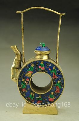 chinese old hand engraving pretty brass cloisonncé teapot collect NR