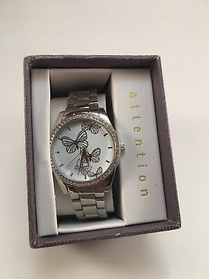Silver Round Attention Butterfly Watch  SAME DAY SHIPPING
