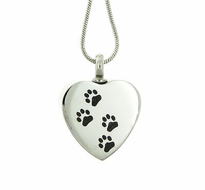 Custom Engraved Paw Print Stainless Steel Heart Pet Cremation Urn Pendant