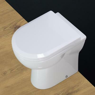Toilet WC Bathroom Back To Wall Compact Square Heavy Duty Soft Closing Seat B18