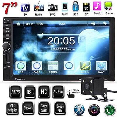 """7"""" Double 2Din Touchscreen GPS Car MP5 MP3 Player FM Radio with Rear View Camera"""