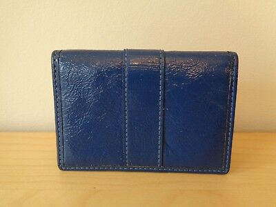 NEW Coach 60567 Blue Patent Leather Business Credit Card ID Case Wallet $78