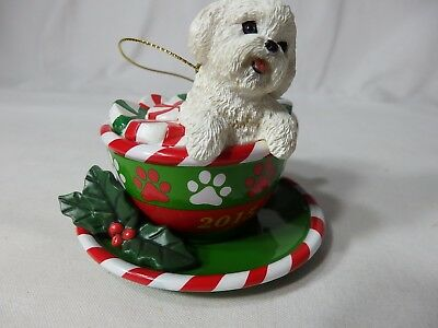 Bichon Frise Dog in Cup Christmas Ornament
