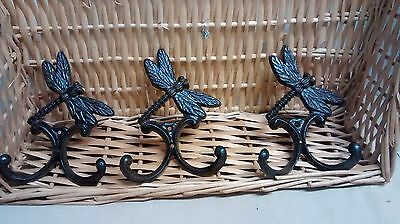 3 Cast Iron DRAGONFLY Towel, Hat Rack Coat Hook Rustic PLANT GARDEN