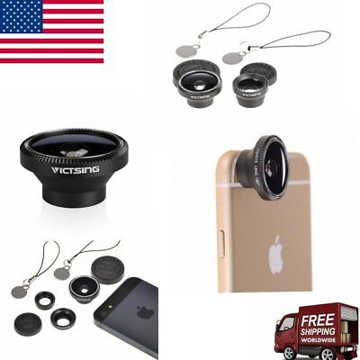 3 in1 Victsing Fish Eye+Wide Angle+Macro Camera Lens Kit for iPhone Android US
