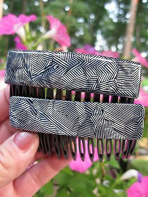 Vintage New Black & White Geometric Design Made In France Pair Hair Side Combs