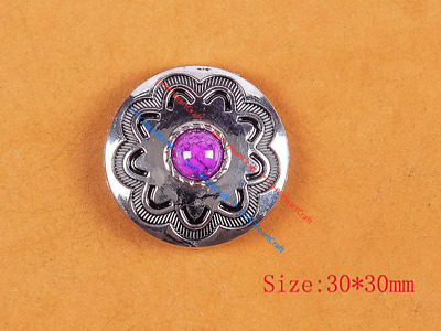 10PC 30MM Purple Turquoise Flower Western Cowgirl Saddle Silver Concho Screwback