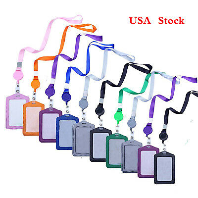 10pcs Vertical Style Leather Business ID Badge Card Holder & Lanyard Neck Strap