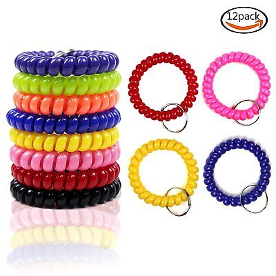 12pcs Colorful Coil Stretch Wristband Bracelet Keychain For Gym Pool ID Badge